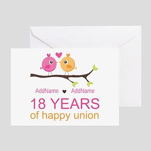18th wedding anniversary greeting cards cafepress 18th anniversary persnalized greeting card m4hsunfo
