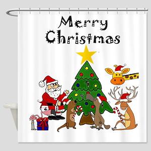 Santa and Friends Christmas Art Shower Curtain