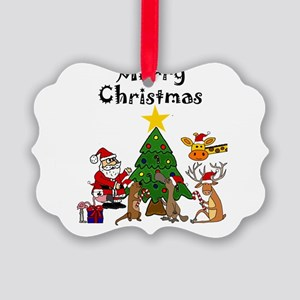 Santa and Friends Christmas Art Picture Ornament