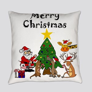 Santa and Friends Christmas Art Everyday Pillow
