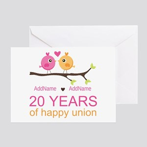 20th wedding anniversary greeting cards cafepress personalized 20th anniversary greeting card m4hsunfo