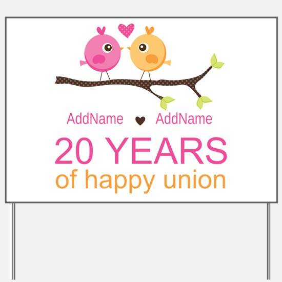 Personalized 20th Anniversary Yard Sign