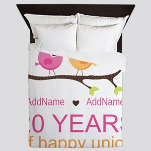 Personalized 20th Anniversary Queen Duvet
