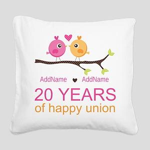Personalized 20th Anniversary Square Canvas Pillow