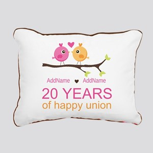 Personalized 20th Annive Rectangular Canvas Pillow