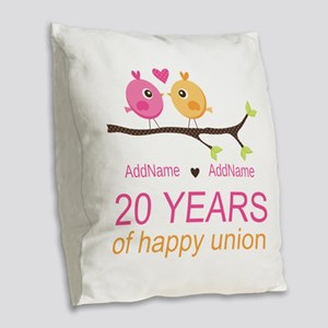 Personalized 20th Anniversary Burlap Throw Pillow
