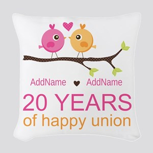 Personalized 20th Anniversary Woven Throw Pillow