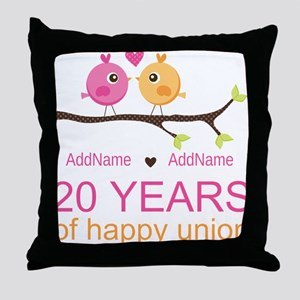 Personalized 20th Anniversary Throw Pillow