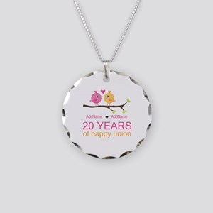 Personalized 20th Anniversar Necklace Circle Charm