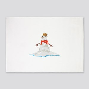 Melting Snowman Winter 5'x7'Area Rug