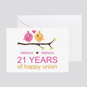 21st Anniversary Personalized Greeting Card
