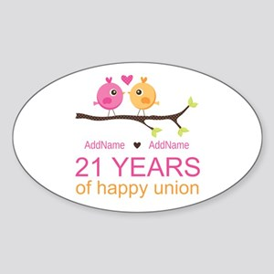 21st Anniversary Personalized Sticker Oval