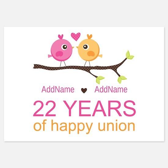 22nd Wedding Anniversary Personaliz 5x7 Flat Cards