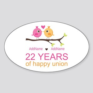 22nd Wedding Anniversary Personaliz Sticker (Oval)
