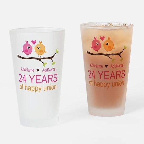 24th Wedding Anniversary Personaliz Drinking Glass