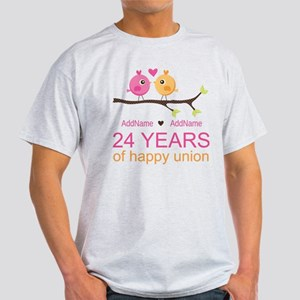 24th Wedding Anniversary Personalize Light T-Shirt