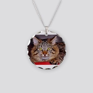 Maine-Coone Cat Necklace Circle Charm