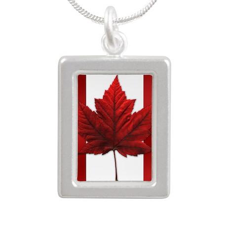 Canada Flag Souvenir Silver Portrait Necklace