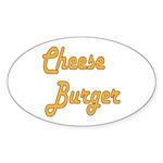 Cheese Burger Sticker (Oval 10 pk)
