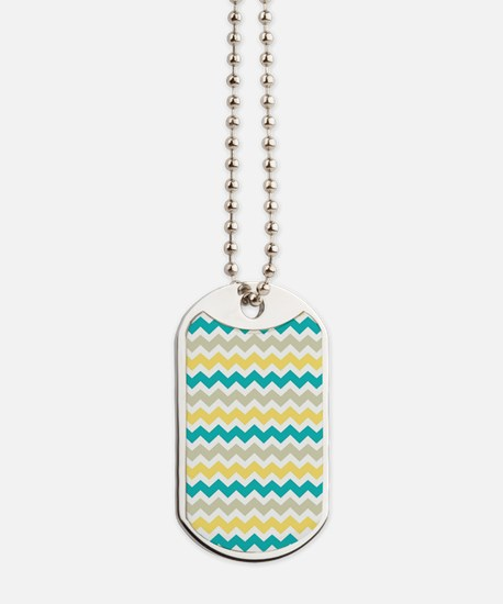 Teal Yellow Beige Chevron Pattern Dog Tags