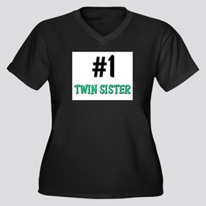 Number 1 TWIN SISTER Women's Plus Size V-Neck Dark