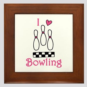 I Love Bowling Framed Tile