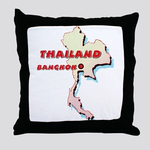 Thailand Map Throw Pillow