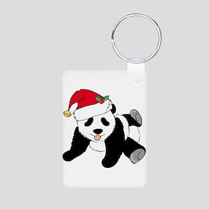 Christmas Panda Aluminum Photo Keychain