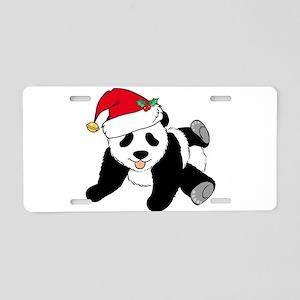 Christmas Panda Aluminum License Plate