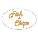 Fish And Chips Sticker (Oval 10 pk)