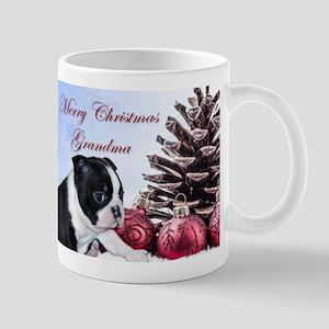 Merry Christmas Grandma Boston Terrier Mugs