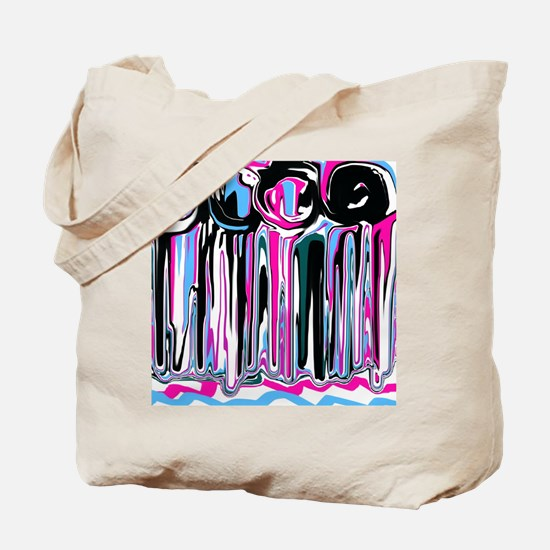 Abstract in Blue, Pink, White and Black Tote Bag