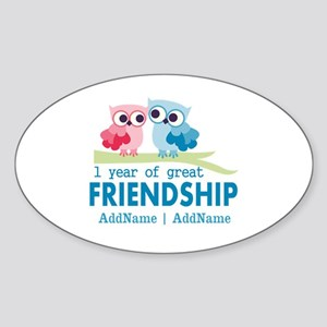 1st Anniversary Personalized Sticker (Oval)