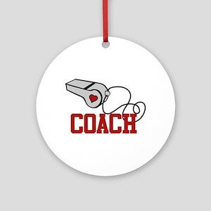 Coach Whistle Ornament (Round)