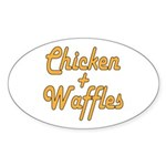 Chicken And Waffles Sticker (Oval)