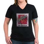 USS NAUTILUS Women's V-Neck Dark T-Shirt
