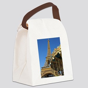 Eiffel Tower Carousel Canvas Lunch Bag