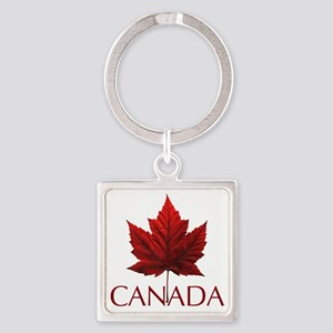 Canada Maple Leaf Souvenir Square Keychain