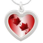 Canada Maple Leaf Souvenir Silver Heart Necklace