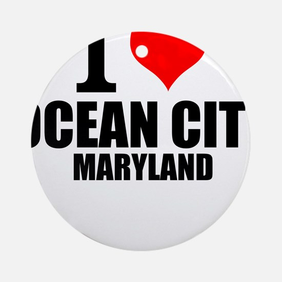 I Love Ocean City, Maryland Round Ornament
