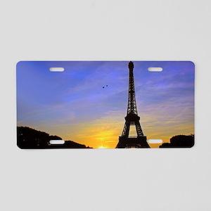 Eiffel Tower Sunset Aluminum License Plate