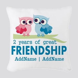 Gift For 2nd Anniversary Perso Woven Throw Pillow