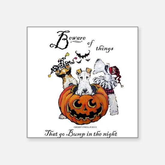 "Fox Terrier Halloween Square Sticker 3"" x 3"""