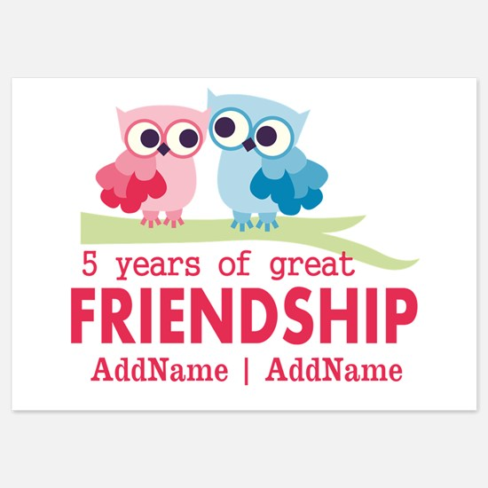 5 Years Anniversary Personalized 5x7 Flat Cards