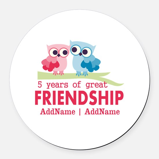 5 Years Anniversary Personalized Round Car Magnet