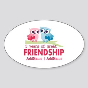 5 Years Anniversary Personalized Sticker (Oval)