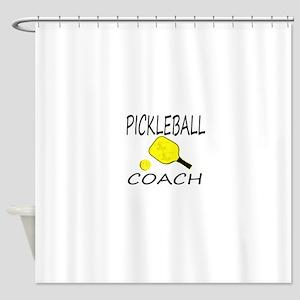Pickleball coach yellow padd Shower Curtain