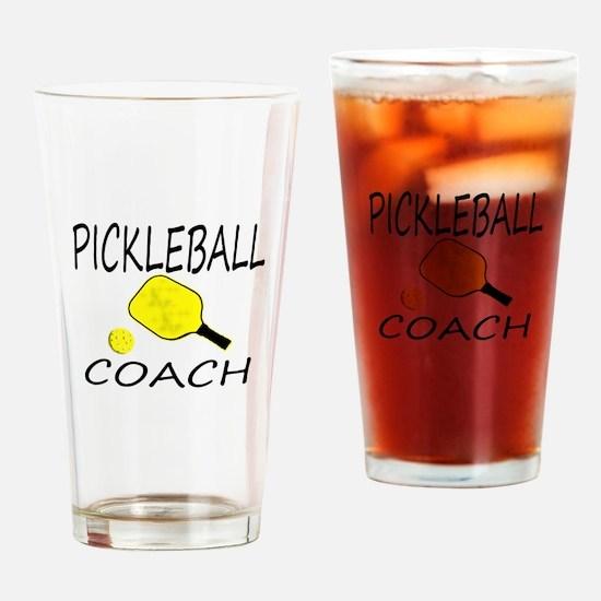 Pickleball coach yellow padd Drinking Glass