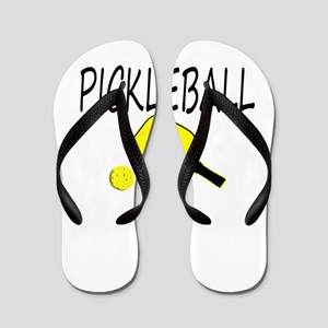 Pickleball with yellow paddle ball Flip Flops