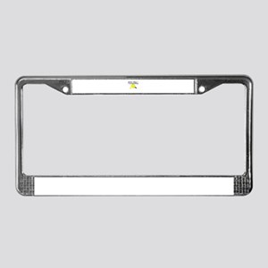 Pickleball with yellow paddle ball License Plate F